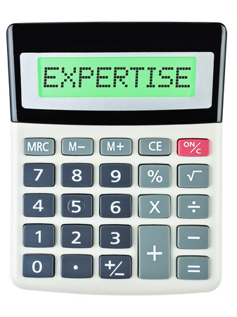 budgetary: Calculator with EXPERTISE on display isolated on white background Stock Photo