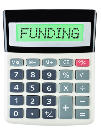 budgetary: Calculator with FUNDING on display on white background