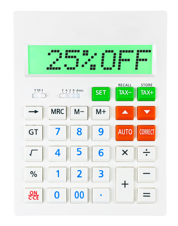 budgetary: Calculator with 25OFF on display on white background