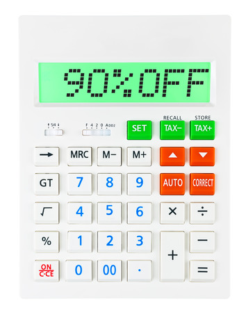 budgetary: Calculator with 90OFF on display on white background Stock Photo