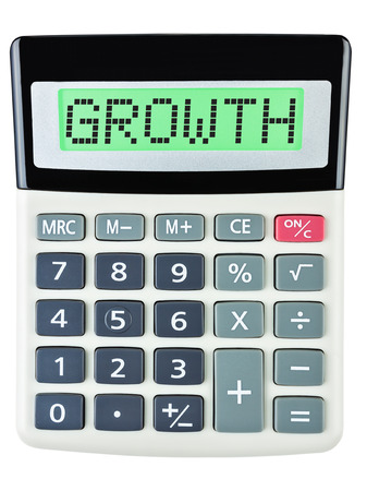 budgetary: Calculator with GROWTH isolated on display on white background