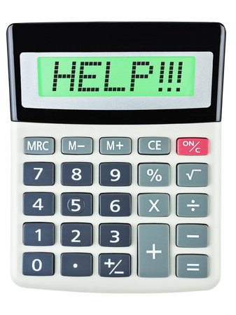 budgetary: Calculator with HELP on display on white background Stock Photo