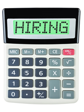 budgetary: Calculator with HIRING on display isolated on white background Stock Photo