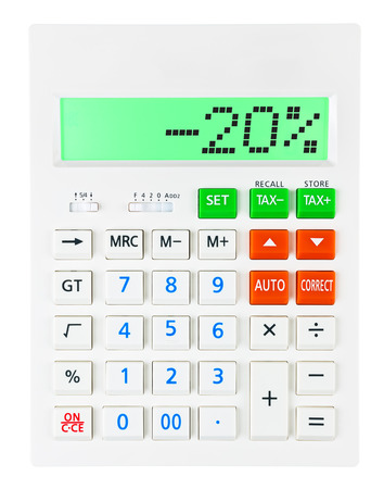 Calculator with -20 on display on white background photo