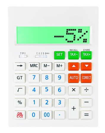 budgetary: Calculator with -5 on display on white background