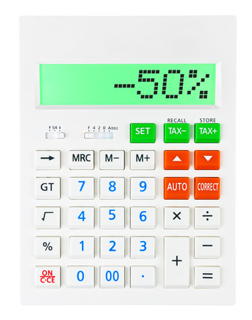 Calculator with -50 on display on white background photo
