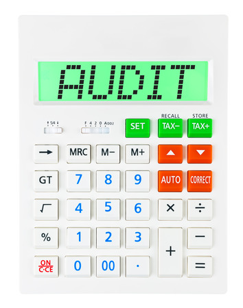 budgetary: Calculator with AUDIT on display on white background Stock Photo