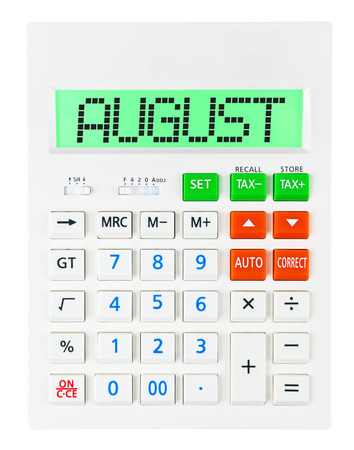 budgetary: Calculator with AUGUST on display isolated on white background Stock Photo