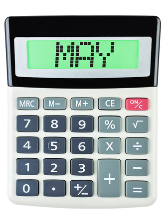 budgetary: Calculator with MAY on display isolated on white background