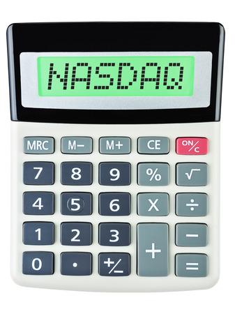 nasdaq: Calculator with NASDAQ on display on white background