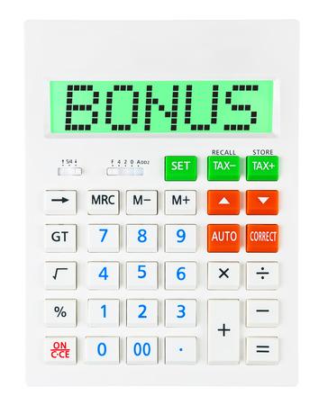 budgetary: Calculator with BONUS on display isolated on white background Stock Photo