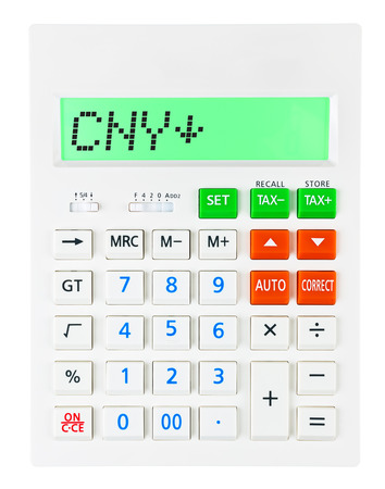 budgetary: Calculator with CNY on display on white background Stock Photo