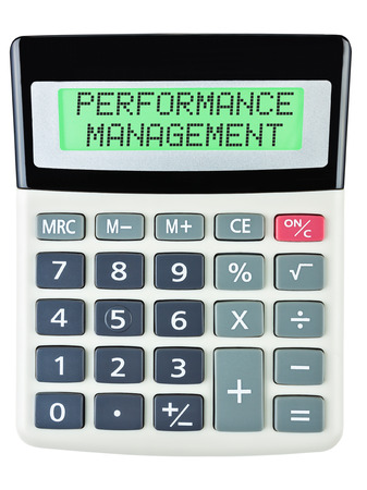 rewarded: Calculator with PERFORMANCE MANAGEMENT on display isolated on white background Stock Photo
