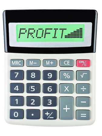 budgetary: Calculator with PROFIT on display on white background Stock Photo