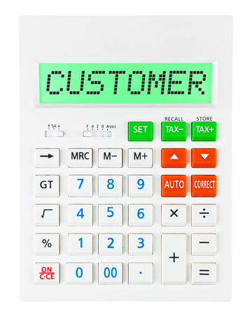budgetary: Calculator with CUSTOMER on display isolated on white background