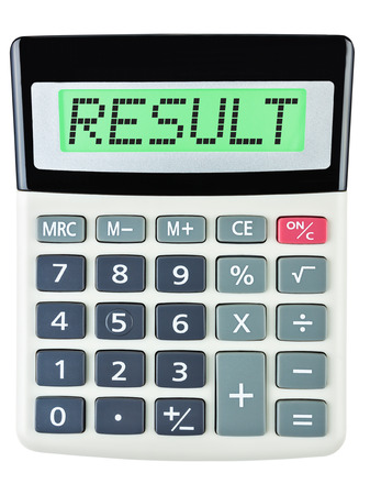 budgetary: Calculator with RESULT on display on white background Stock Photo