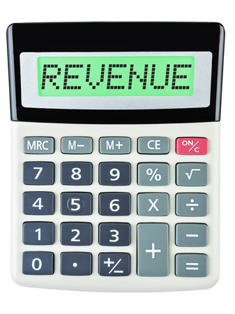 budgetary: Calculator with REVENUE on display on white background Stock Photo