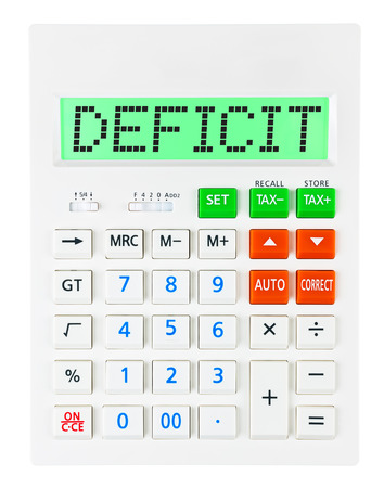 budgetary: Calculator with DEFICIT on display isolated on white background