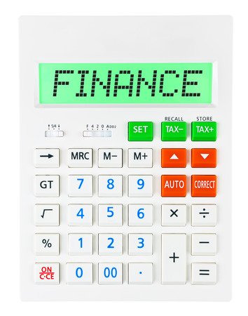 budgetary: Calculator with FINANCE on display on white background Stock Photo