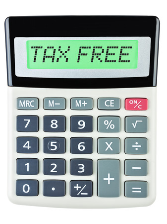 budgetary: Calculator with TAX FREE on display on white background