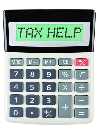 budgetary: Calculator with TAX HELP on display on white background Stock Photo