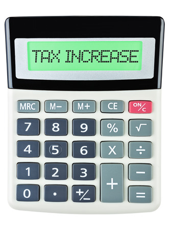 budgetary: Calculator with TAX INCREASE on display isolated on white background Stock Photo
