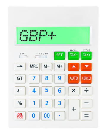 budgetary: Calculator with GBP on display on white background