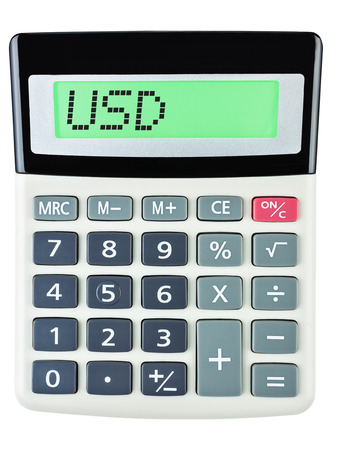 budgetary: Calculator with USD on display on white background