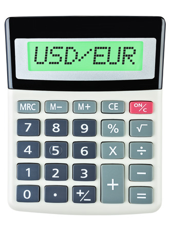 budgetary: Calculator with USDEUR on display on white background