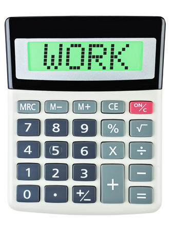 budgetary: Calculator with WORK on display isolated on white background Stock Photo