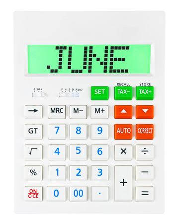 budgetary: Calculator with JUNE on display isolated on white background