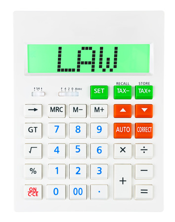 budgetary: Calculator with LAW on display isolated on white background