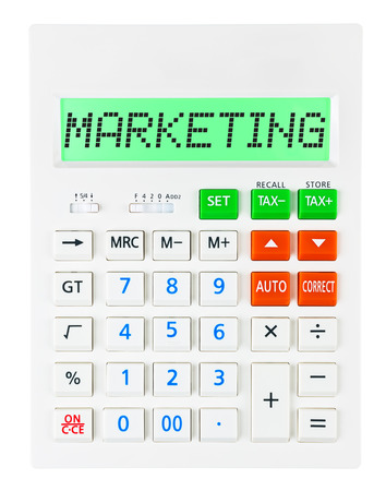 budgetary: Calculator with MARKETING on display on white background