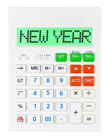 christmas debt: Calculator with NEW YEAR on display isolated on white background Stock Photo