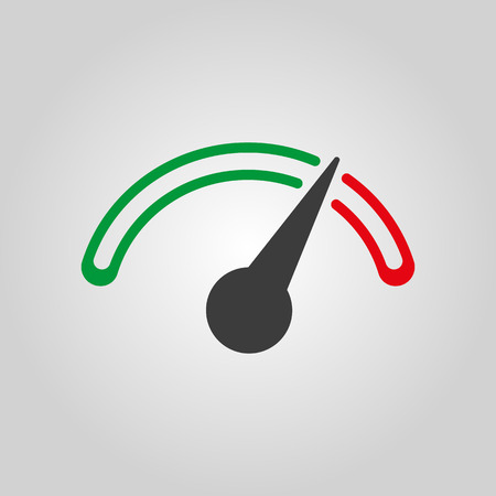 velocímetro: El icono del tacómetro, velocímetro e indicador. Símbolo de la medición del desempeño. Ilustración vectorial Flat Vectores