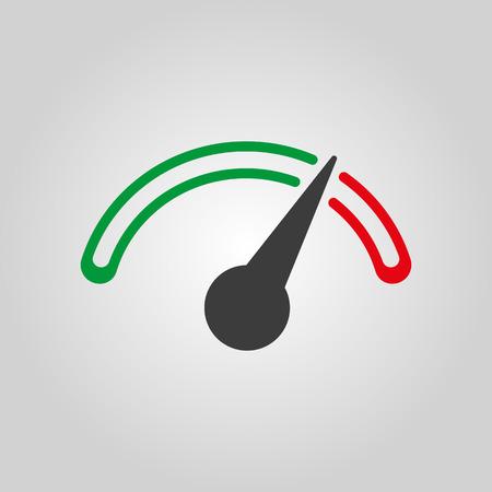 compteur de vitesse: L'icône compte-tours, compteur de vitesse et indicateur. Performance symbole de mesure. Appartement Vector illustration
