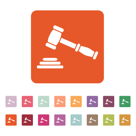 auction: The judge or auction hammer icon. Justice symbol. Flat Vector illustration. Button Set