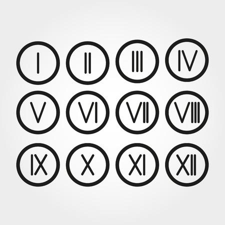 numeros romanos: El set n�meros romanos 1-12 icono. vector Vectores