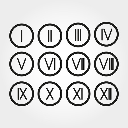 11 number: The set Roman numerals 1-12 icon. vector