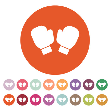 athletic type: The boxing gloves icon. Game symbol. Flat Vector illustration. Button Set