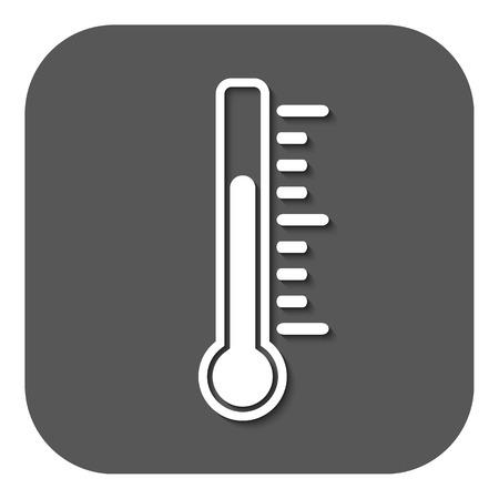 termómetro: El icono de termómetro. Símbolo de termómetro. Ilustración vectorial Flat. Botón