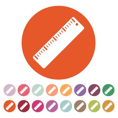 ruler: The ruler icon. Ruler symbol. Flat Vector illustration. Button Set