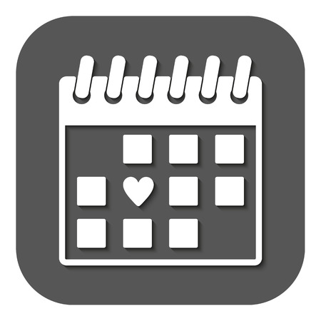 valentin: The calendar icon. Valentines day symbol. Flat Vector illustration. Button