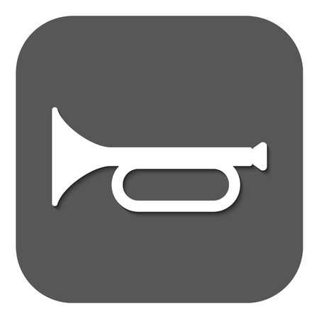 fanfare: The horn icon. clarion symbol. Flat Vector illustration. Button