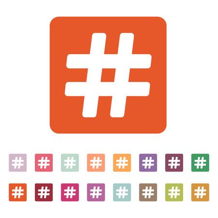 hash: The hash icon. Hashtag symbol. Flat Vector illustration. Button Set Illustration