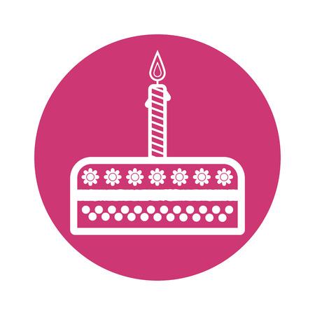 burning candle: Birthday cake sign icon. Cake with burning candle symbol. Vector illustration Illustration