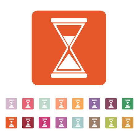 expire: The hourglass icon. Clock symbol. Flat Vector illustration. Button Set Illustration
