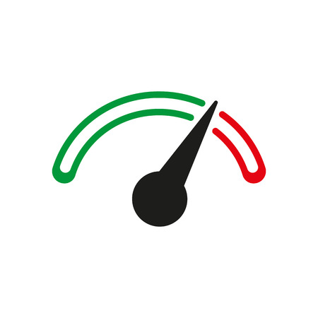 tachometer: The tachometer, speedometer and indicator icon. Performance measurement symbol. Flat Vector illustration