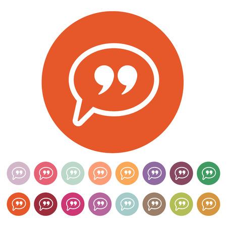 The Quote sign icon. Quotation Mark Speech Bubble symbol. Flat Vector illustration. Button Set Çizim