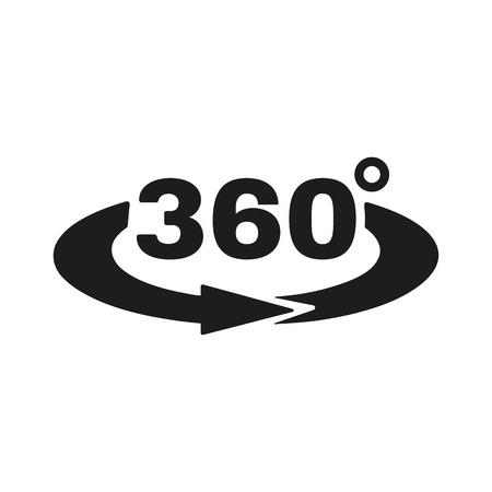 ベアリング: 角度 360 度アイコン。回転のシンボルです。フラットのベクトル図  イラスト・ベクター素材